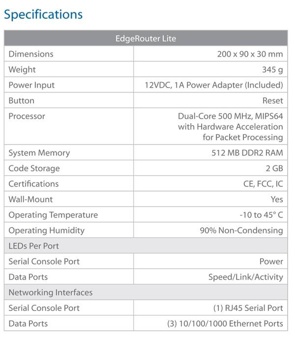 Ubiquiti EDGE Router Lite ERLite-3